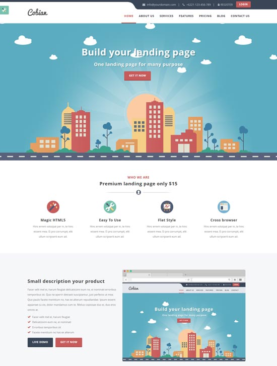cobian landing page WordPress theme