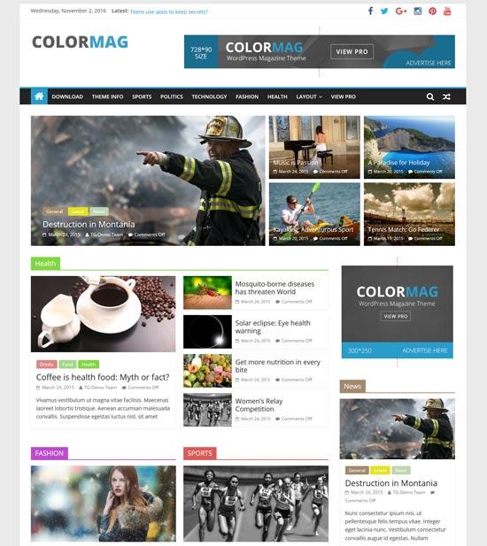 colormag free responsive magazine WordPress theme