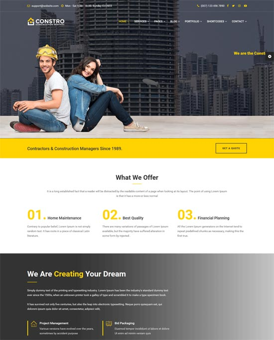 constro construction html5 template