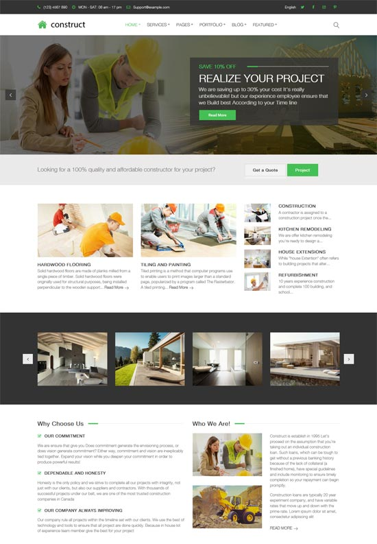 construct construction building wordpress theme