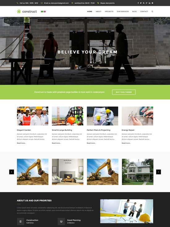 construct construction joomla template