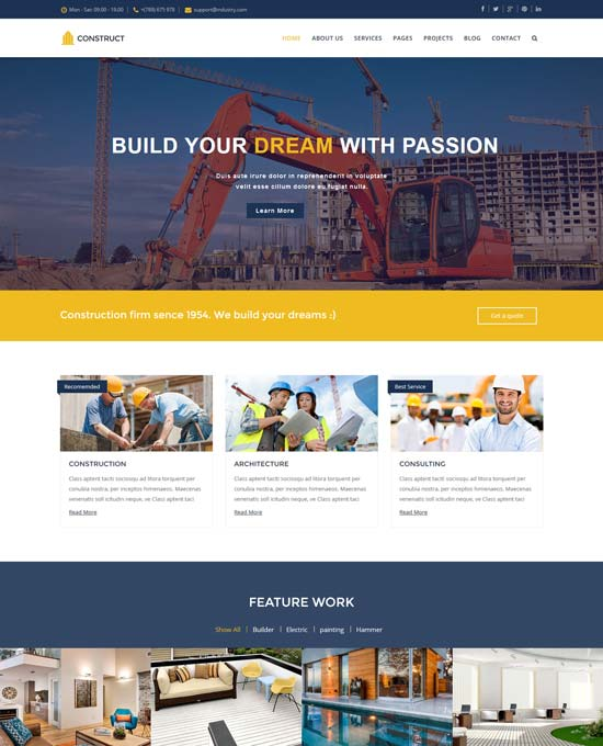 construct joomla construction template
