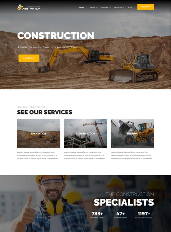 construction companies wordpress theme