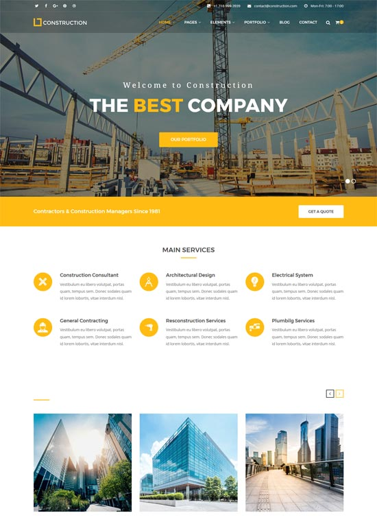 construction company building company html template