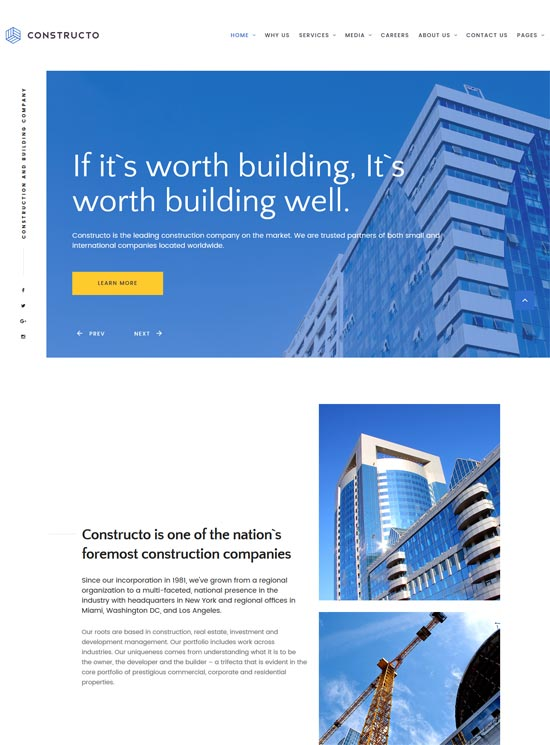 constructo architecture company website template