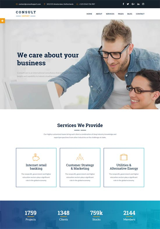 consult expert business consulting html template