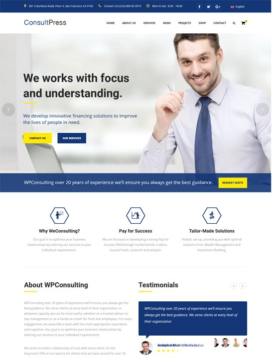 consult press consulting business wordpress theme