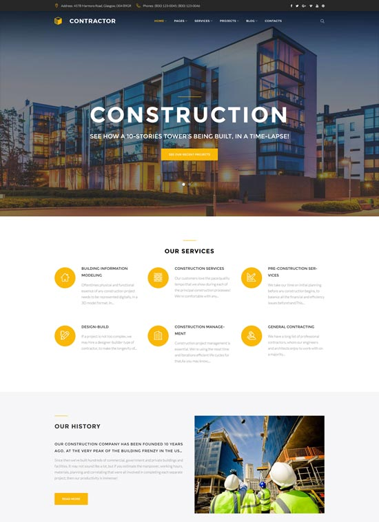 contractor construction company wordpress theme