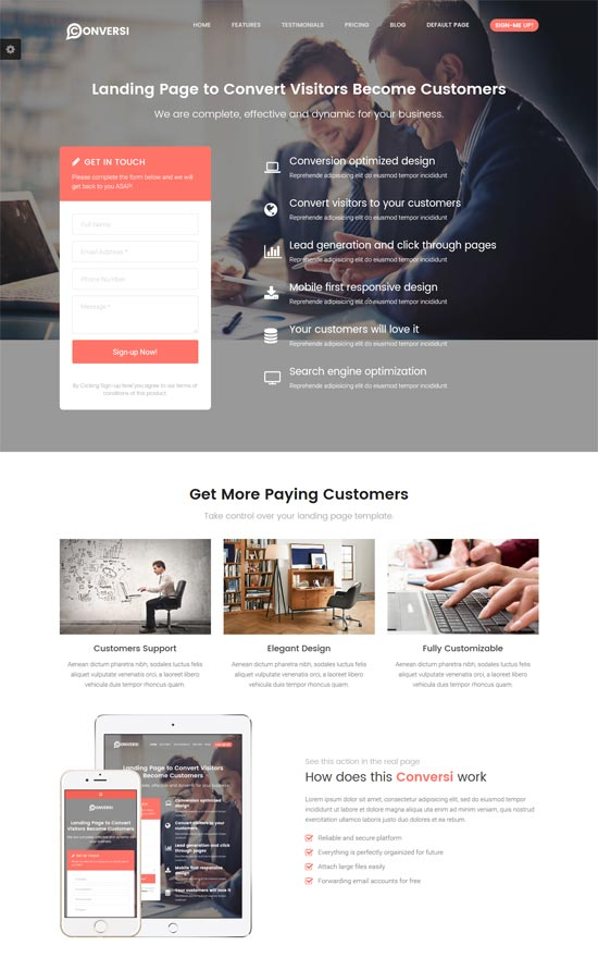 conversi professional conversion landing page wordpress theme