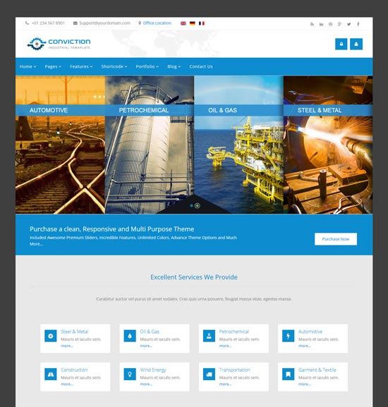 conviction industrial WordPress theme