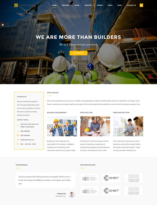 cortana construction building WordPress theme