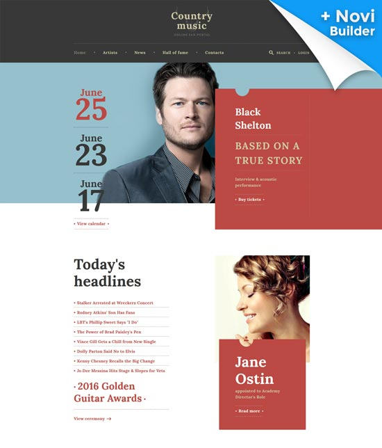 country music musician website template