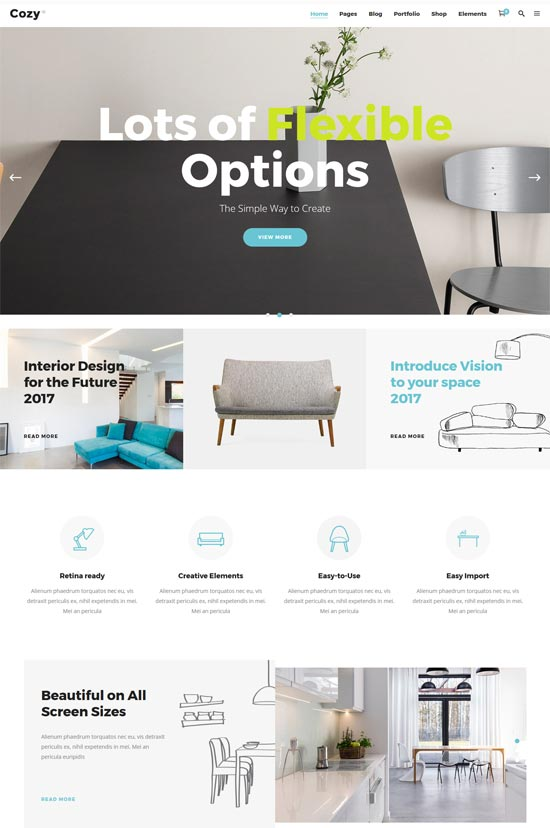 cozy interior design decor wordpress theme