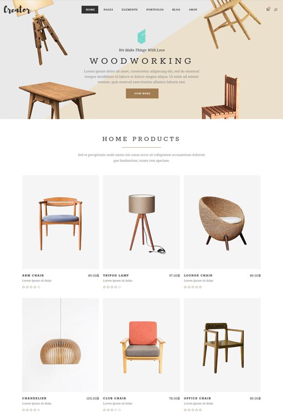 creator furniture shop wordpress theme