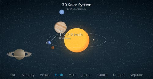 css html5 animated 3d solar system