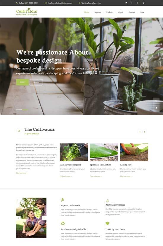 cultivators gardening design wordpress theme