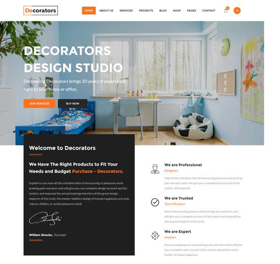 decorators interior design studio html template