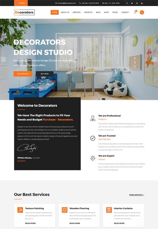 decorators modern interior design studio wordpress theme