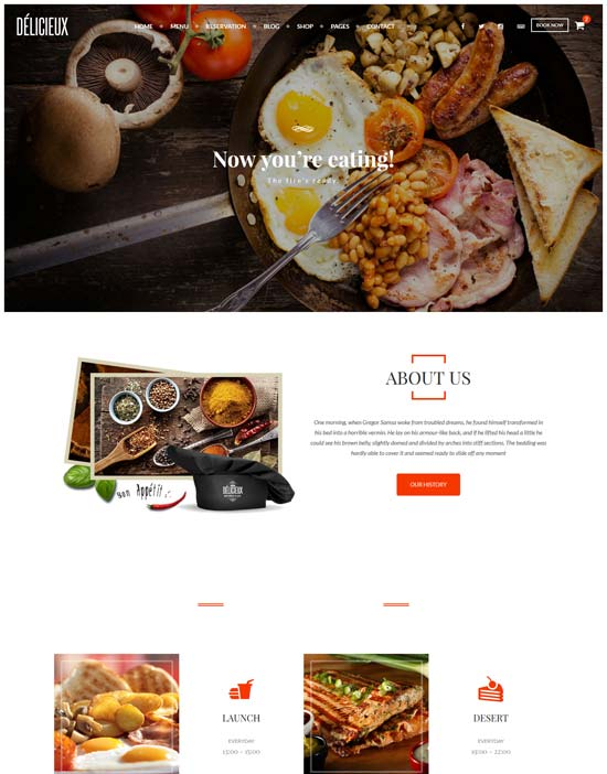 delicieux restaurant html5 template