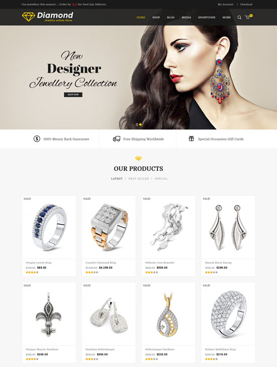 diamond jewellery woocommerce theme