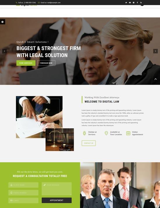 digital law lawyer agency WordPress theme