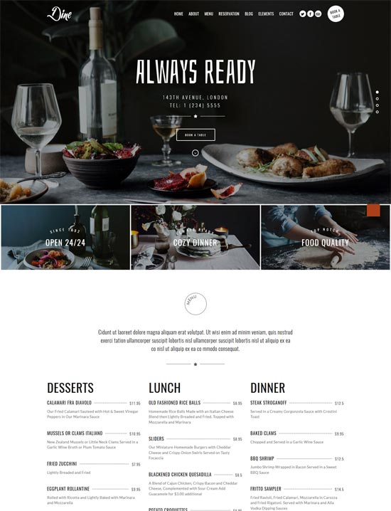 dine elegant restaurant wordpress theme