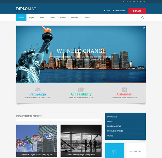 diplomat political candidate html template