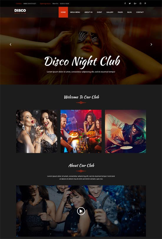 disco night club html template