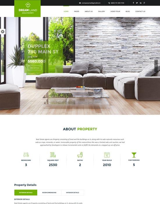 dream land real estate WordPress theme