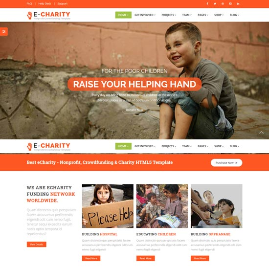 echarity nonprofit charity html5 template