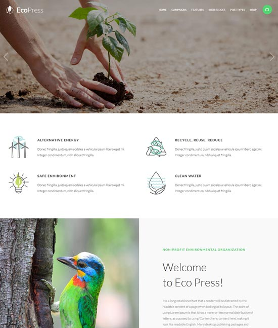 eco press nature ecology WordPress theme