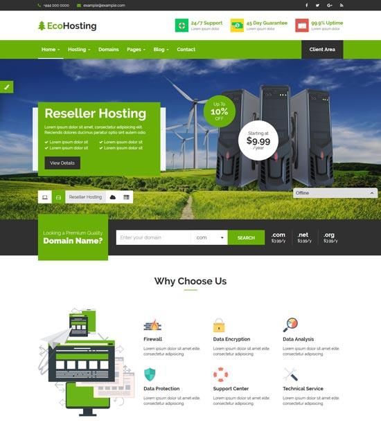 ecohosting html5 hosting template