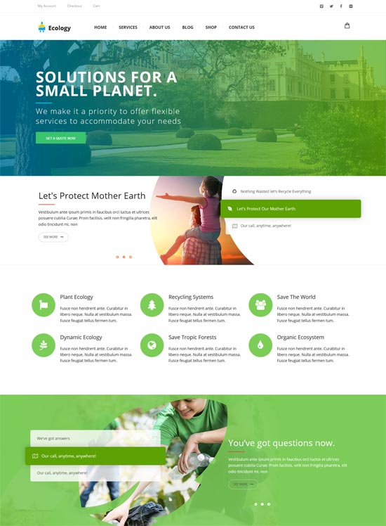 ecology non-profit environment wordpress theme