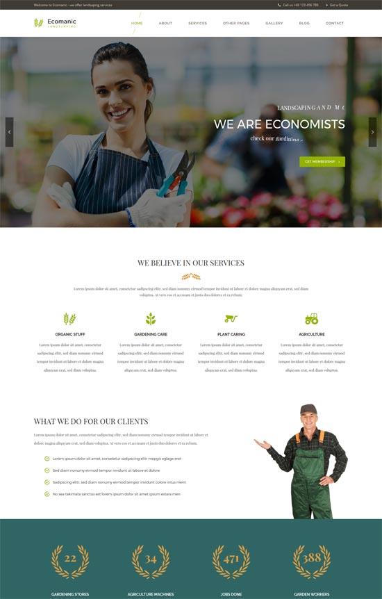 ecomanic gardening landscaping wordpress theme