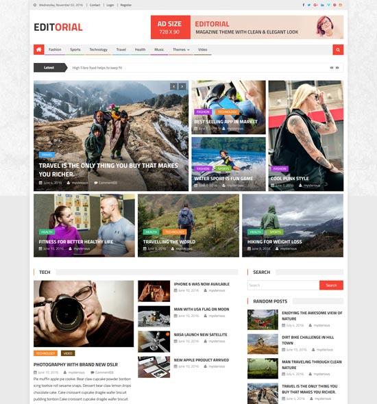 editorial free magazine style WordPress theme