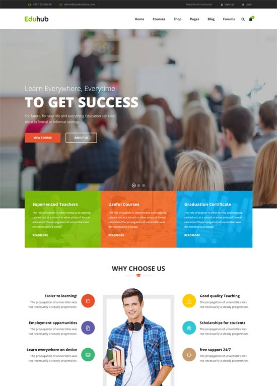 eduhub sensei education wordpress theme
