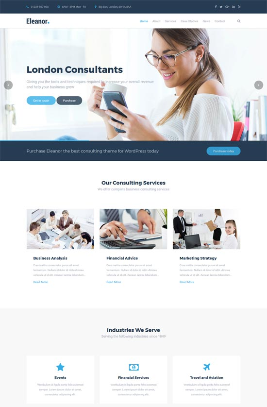 eleanor consulting business wordpress theme