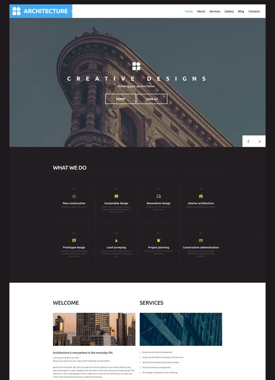 elegant architecture wordpress theme