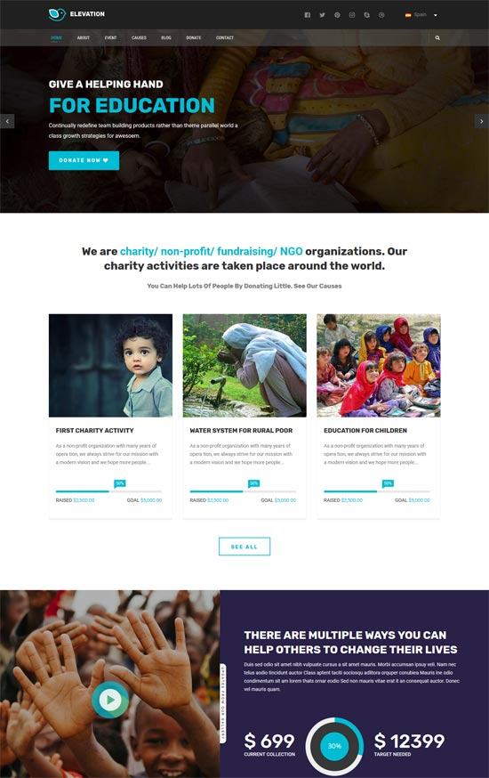 elevation charity nonprofit html5 template