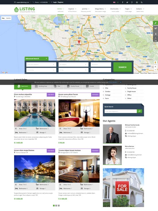 elisting real estate joomla template