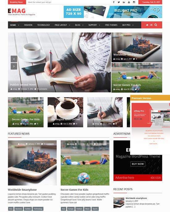 emag free wordpress magazine theme