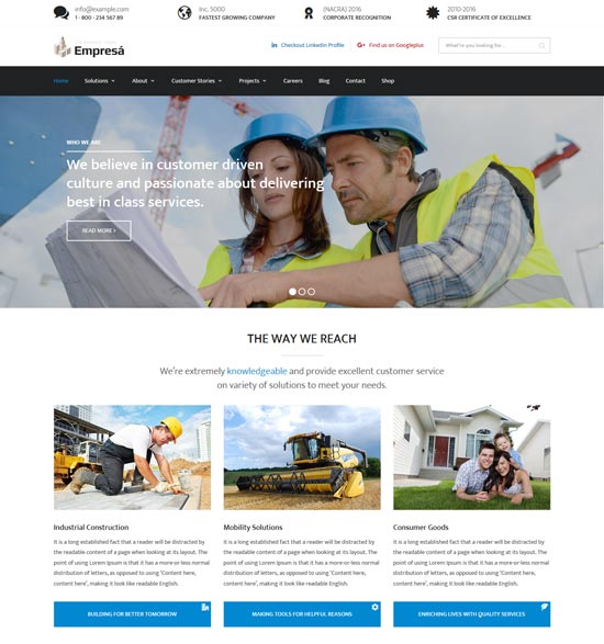 empresa industry business WordPress theme