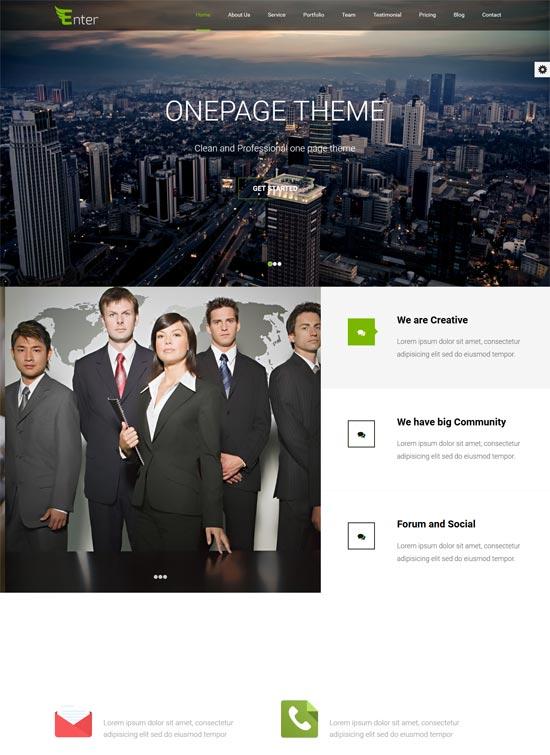 enter free responsive onepage wordpress theme