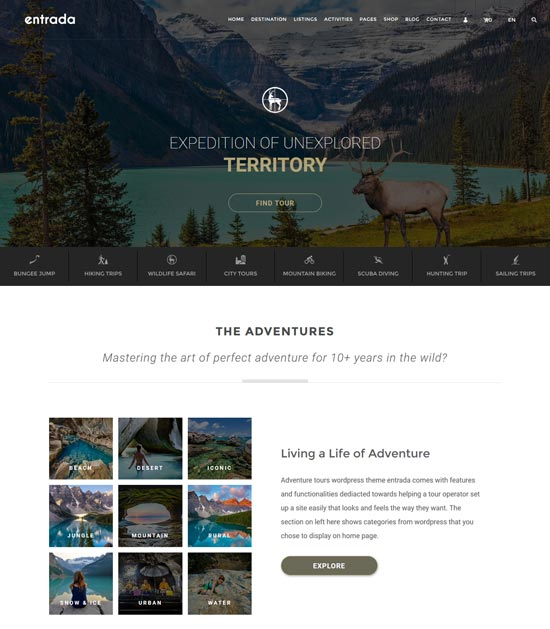 entrada tour booking WordPress theme -