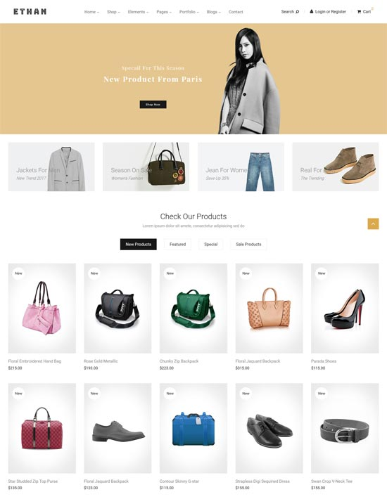 ethan fashion magento theme