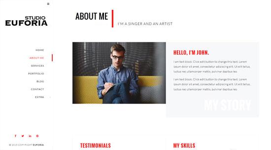 euforia responsive vcard WordPress theme