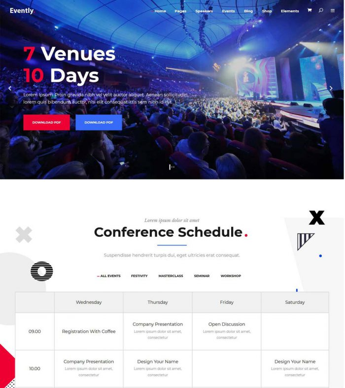 evently event conference wordpress theme