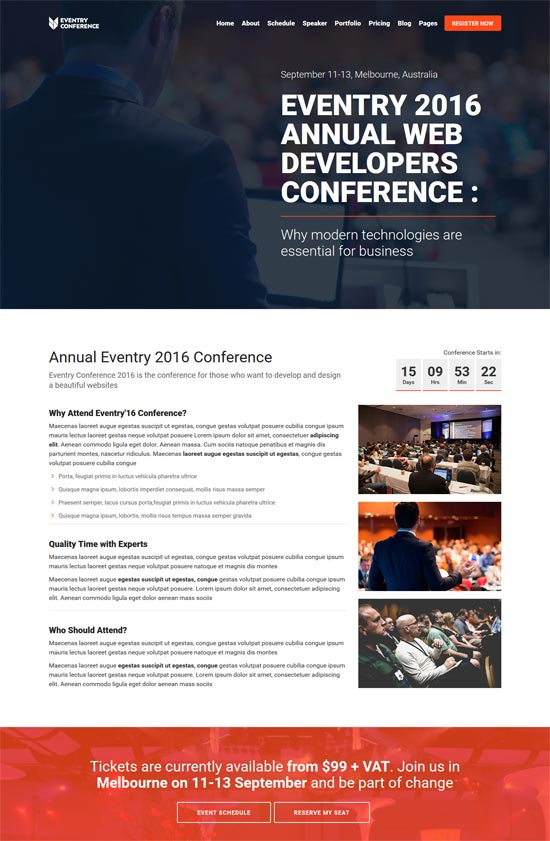 eventry conference event landing page wordpress theme