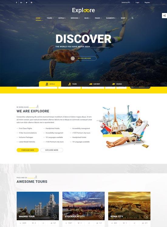 exploore travel booking WordPress theme