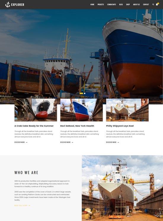 explorer factory ship wordpress theme